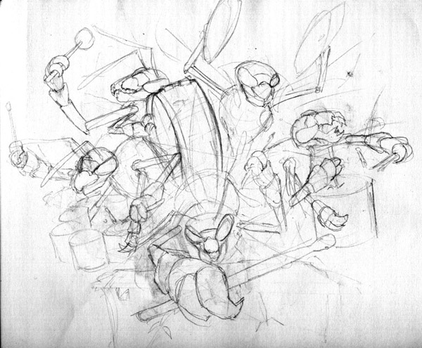 The first rough pencil sketch